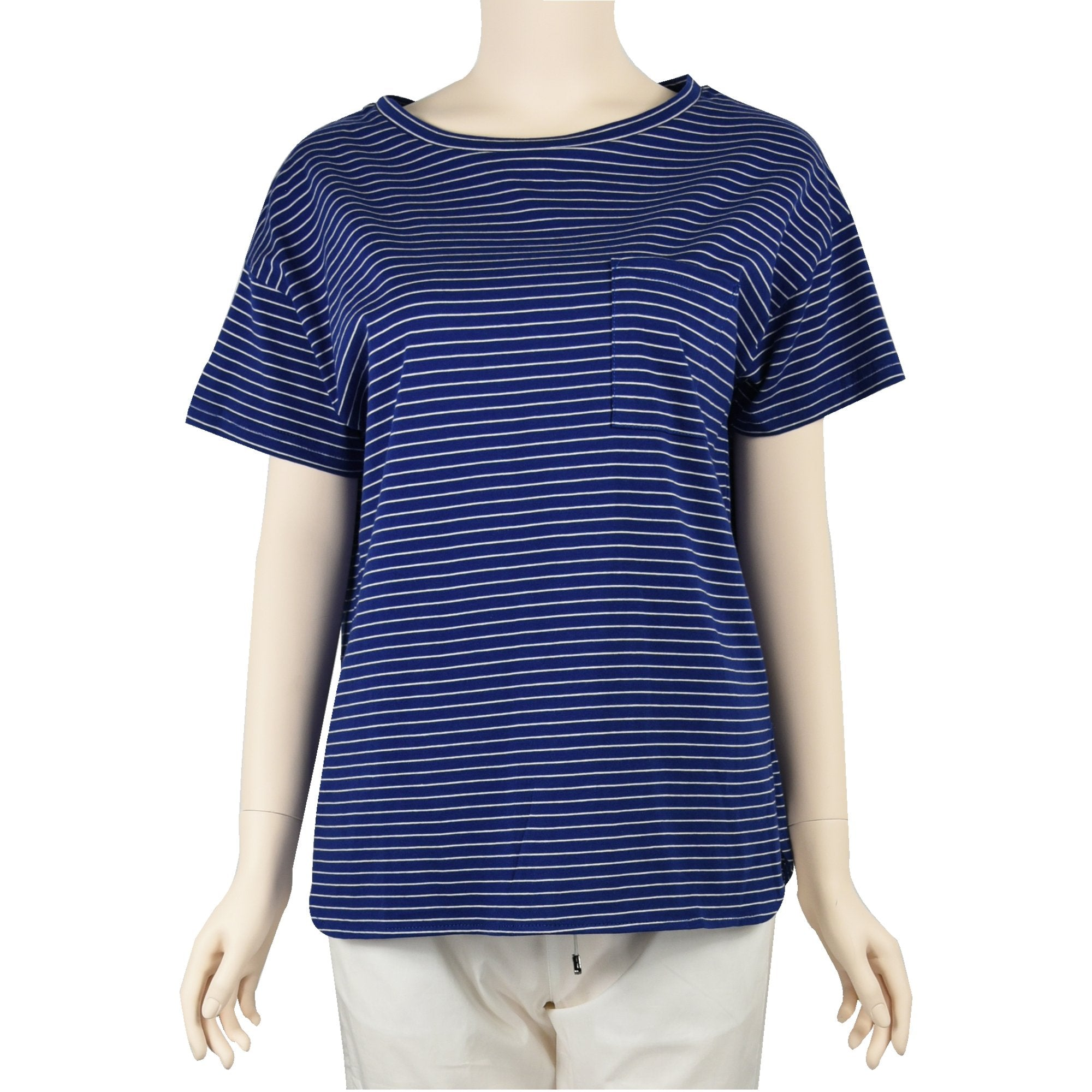 Patch Ladies Short Sleeve Cotton Rolled Cuff Striped T-shirt with Pockets-02-1996-Blue-Stripe