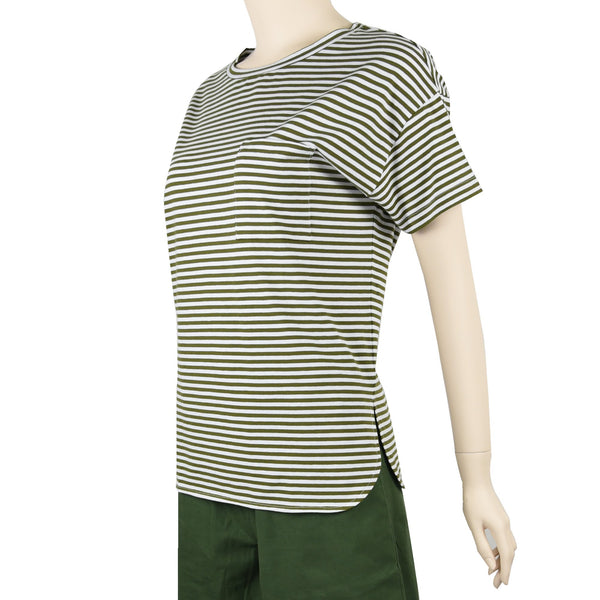 Patch Ladies Short Sleeve Cotton Rolled Cuff Striped T-shirt with Pockets-02-1996-Olive Green-Stripe