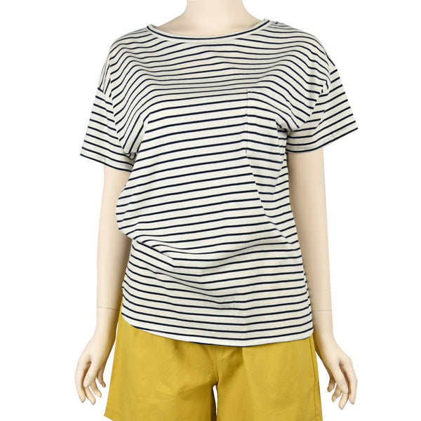 Patch Ladies Short Sleeve Cotton Rolled Cuff Striped T-shirt with Pockets-02-1996-Navy Blue-Stripe