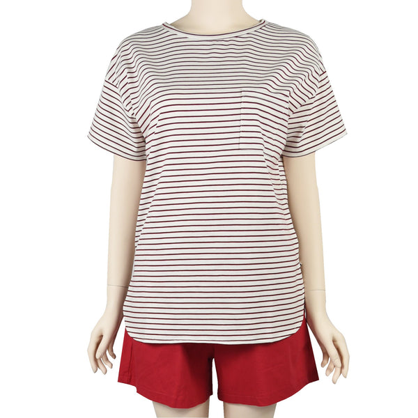 Patch Ladies Short Sleeve Cotton Rolled Cuff Striped T-shirt with Pockets-02-1996-Red-Stripe