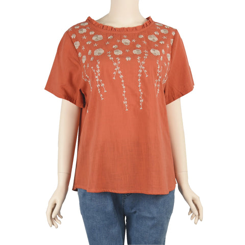 Patch Ladies Short Sleeve Raffle Round Neck Linen Embroidered Orange Top
