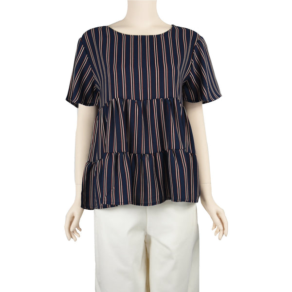 Patch Ladies Short Sleeve Round Neck Fresh Layer Striped Blouse-Navy Blue
