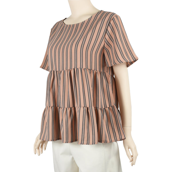 Patch Ladies Short Sleeve Round Neck Fresh Layer Striped Blouse-Pink