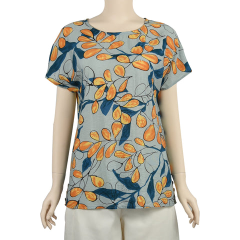 Patch Ladies Short Sleeve Round Neck Loose Fit Floral Printed Cotton Blouse