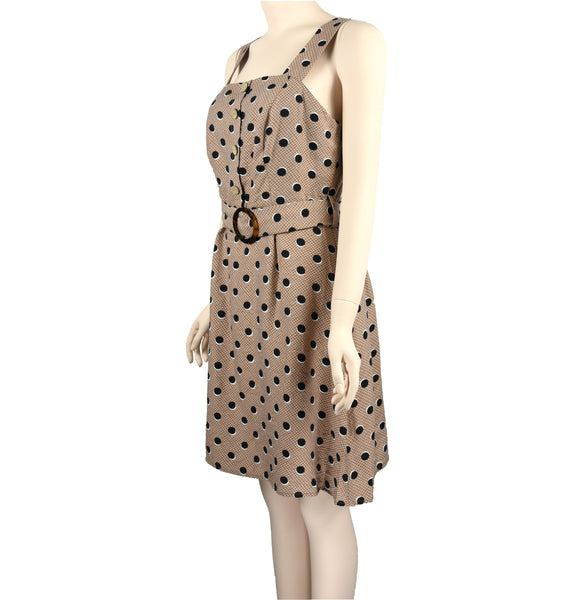 Polka-Dot Dress with Belt-S0504005