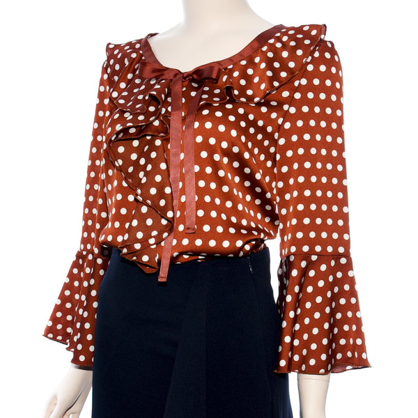 Patch Ladies Woven Dot Printed Ruffle Neck Top