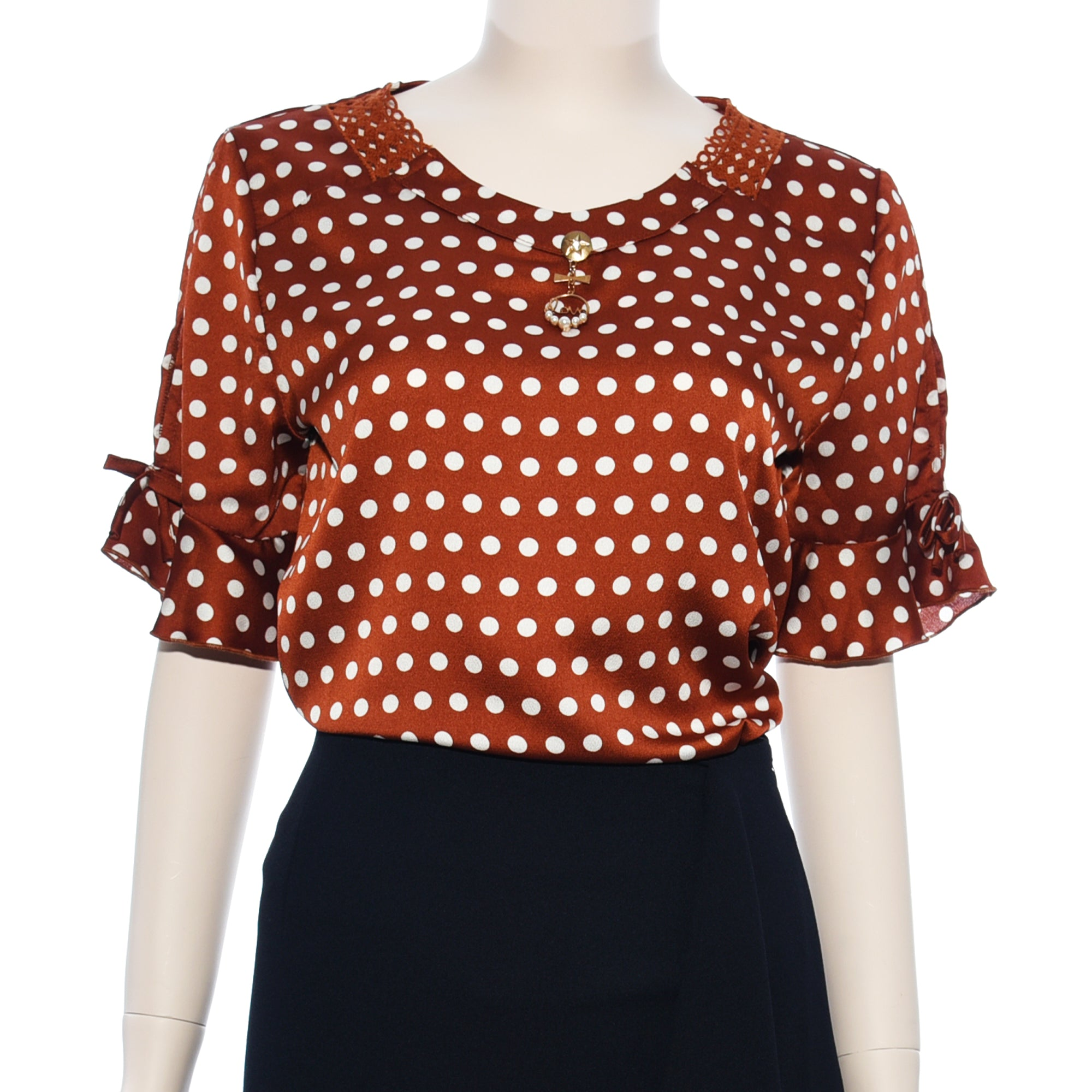 Patch Ladies Woven Dot Printed V-Neck Top