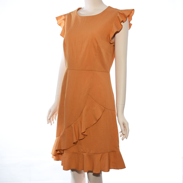 Patch Ladies Woven Solid Dress W/Ruffle Sleeve