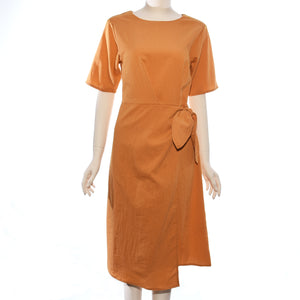 Patch Ladies Woven Solid Short Sleeve Dress