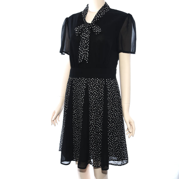Patch Ladies Short Sleeve Woven Solid and Dot Print Dress