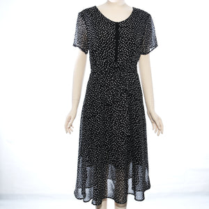 Patch Ladies Short Sleeve Woven Dot Print S-Sleeve Dress