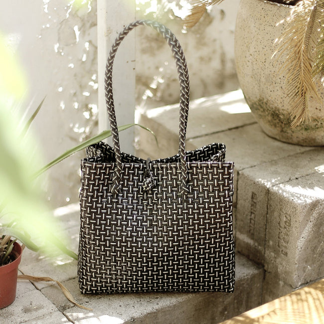 Toko Bazaar Woven Tote Bag - in Black