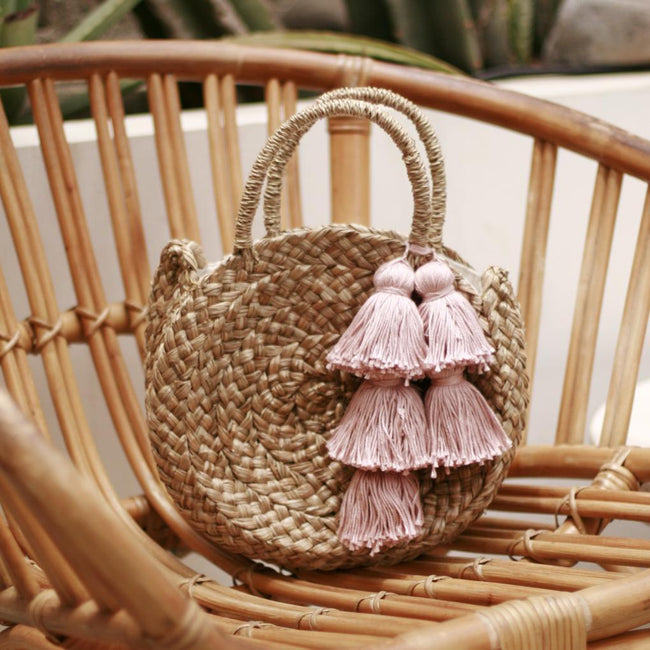 Petite Luna Bag - Round Straw Tote Bag with Blush Pink Tassels