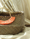 Borneo Belly Basket Bag with Champagne Pink Tassels