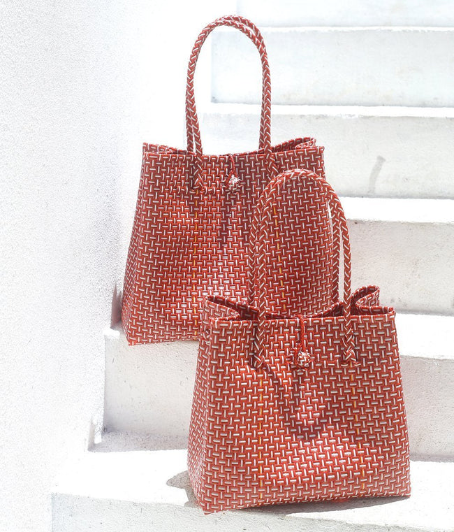 TOKO Straw Bag, Plastic Straw Bag, Woven Handbag, Straw Handbag, Straw Tote Bag, Beach Bag, in Red