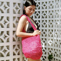 Vegan Bag - Kama Wooden Beads Crochet Bag in Dragon Fruit Pink