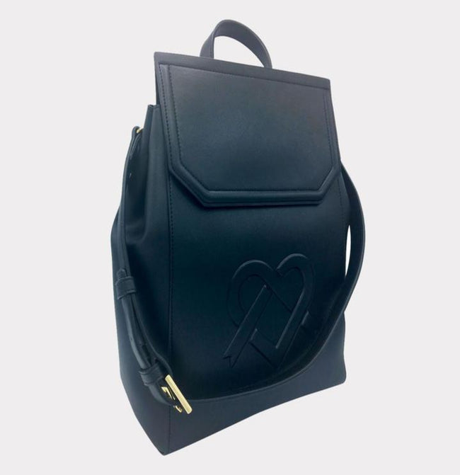 Livia - Black Vegan Leather Backpack