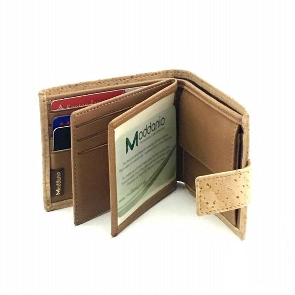 Cork Vegan Leather Double Bifold Wallet Clasp
