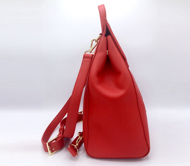 Livia - Red Vegan Leather Backpack