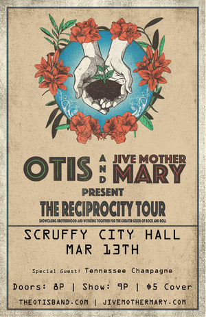 Scruffys City Hall 3/13/20 Show Flyer - Reciprocity Tour 2020
