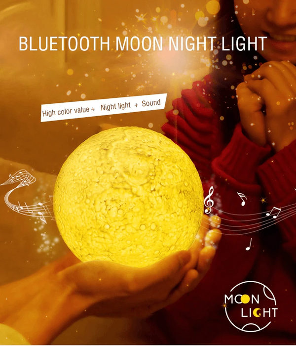 3D Print Moon Lamp with Inbuilt Bluetooth Speaker and Remote (Multicolor in One) - Art Galore®