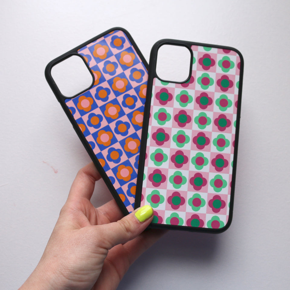 Checkered Blue Floral Phone Case