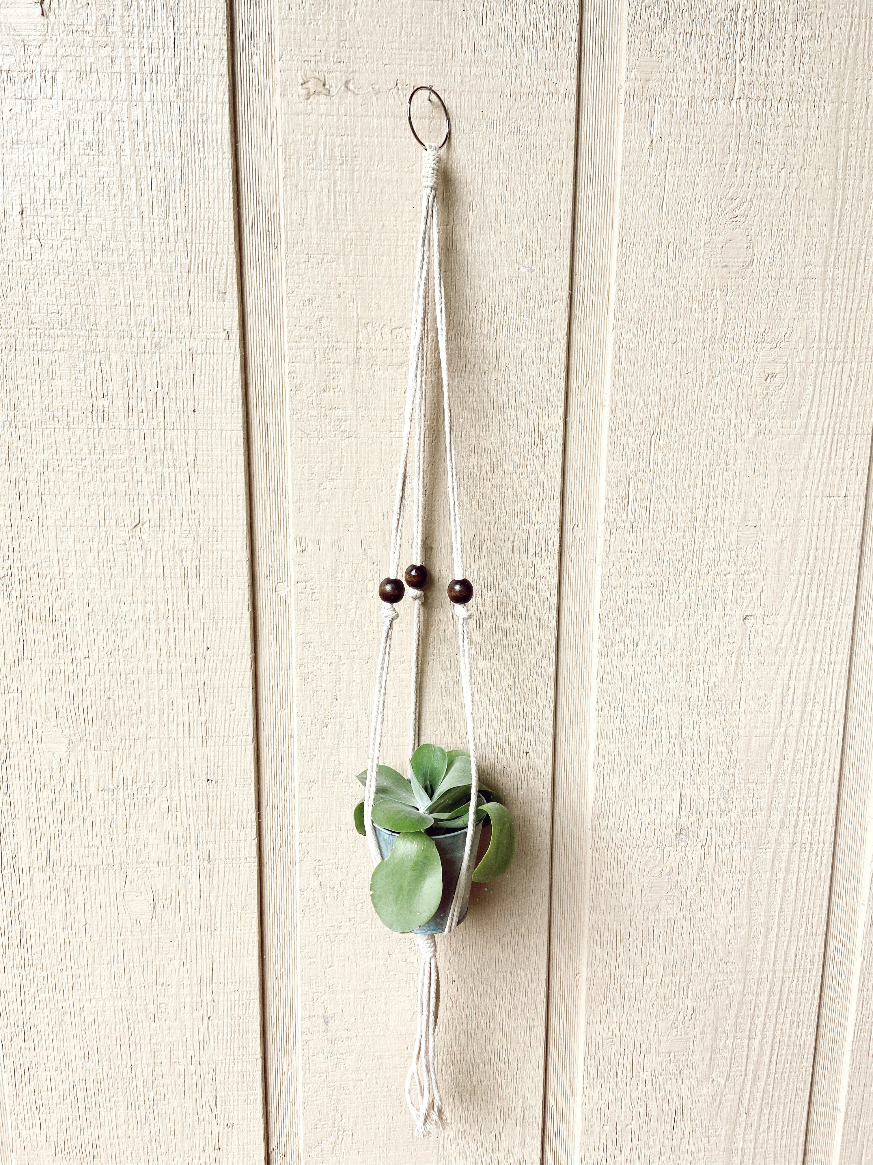 Natural Beaded Macrame Plant Hanger