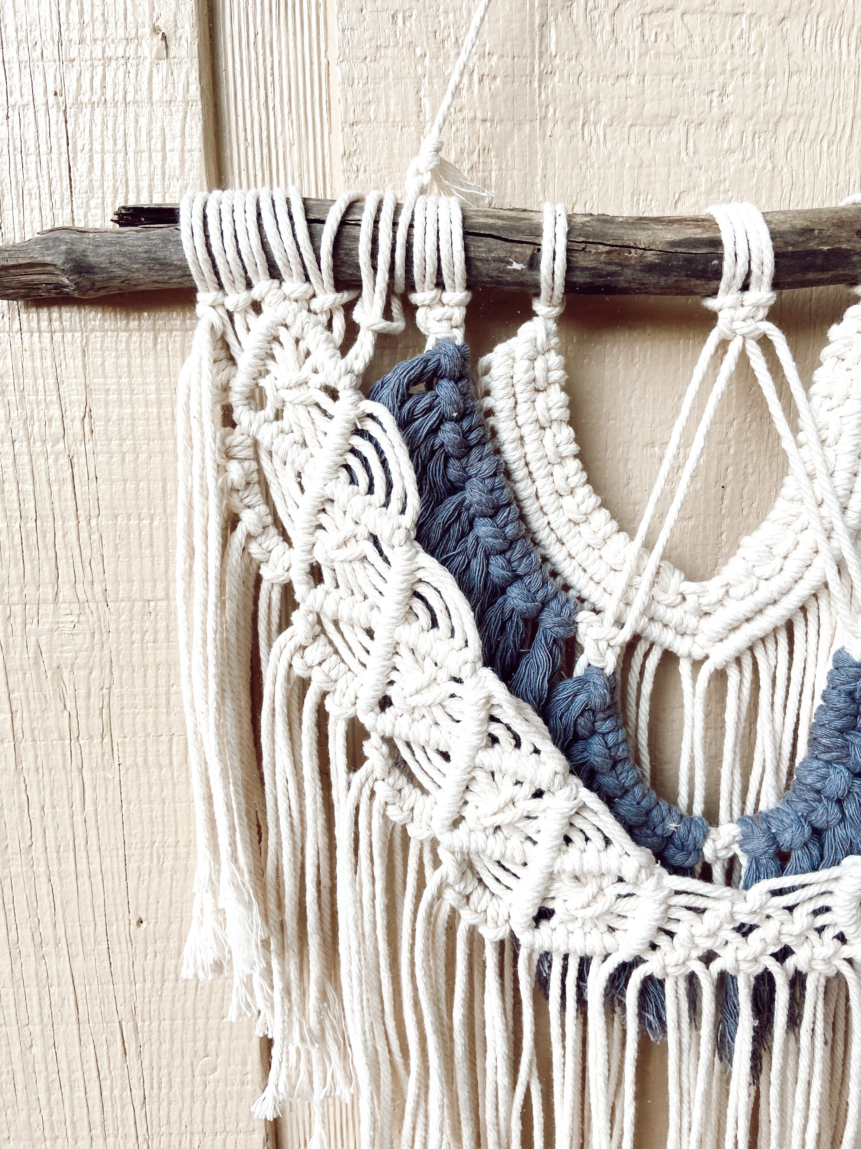 Layered Macrame Wall Hanging with Black