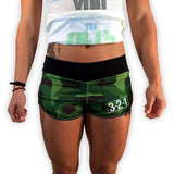 Green Camo Women's CrossFit-style Shorts from 321 Apparel