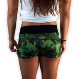 Green Camo Women's CrossFit-style Shorts from 321 Apparel (back)