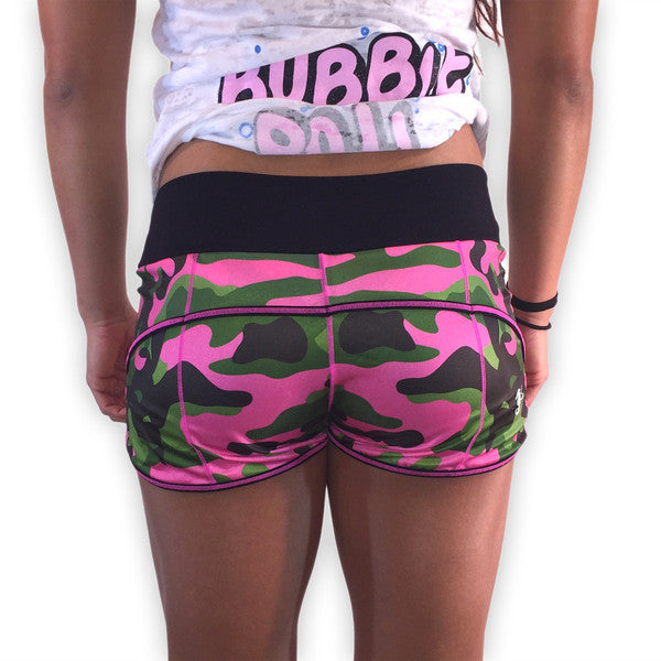 Pink Camo Women's CrossFit-style Shorts from 321 Apparel (Reverse)
