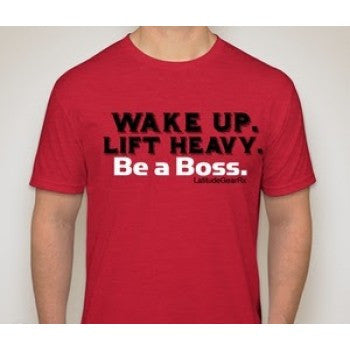 Wake Up Lift Like A Boss men's CrossFit-style t-shirts from Latitude GearRx