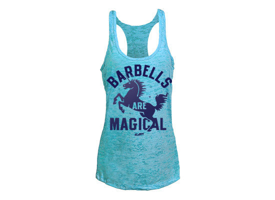 Barbells are Magical women's workout tank tops (blue) --- G2OH