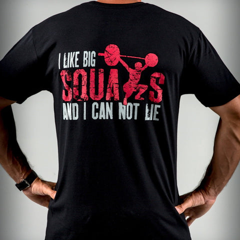 I Like Big Squats men's CrossFit-themed t-shirt --- WOD Addiction