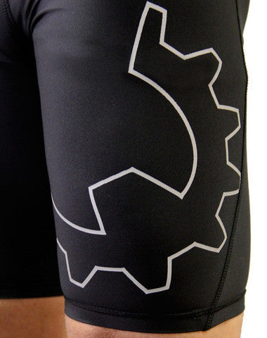 Men's CrossFit-style Compression Shorts --- WOD Gear (logo closeup)