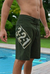 321 Apparel --- OG Green & Tan Men's CrossFit-style Shorts