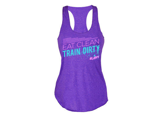 Eat Clean Train Dirty women's CrossFit themed tank tops (purple- front)--- G2OH