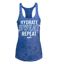 Hydrate Sweat Repeat women's CrossFit-style tank tops--G2OH (indigo)