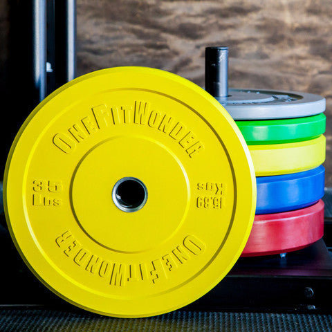 Color CrossFit-style Bumper Plate Set from OneFitWonder