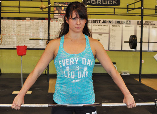 Leg Day Burnout Women's CrossFit-themed Tank tops ---G2OH (blue)