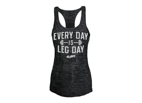 Leg Day Women's CrossFit-themed Burnout tank tops (black) --G2OH