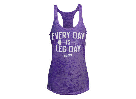 Leg Day women's CrossFit-themed tank tops (purple) ---G2OH
