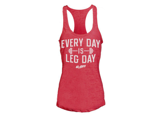 Leg Day women's CrossFit-themed tank tops (red) ----G2OH