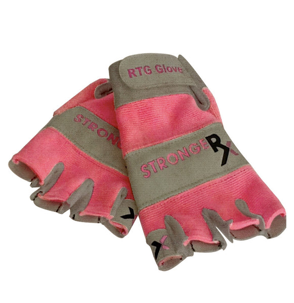 StrongerRx Half Finger Workout Gloves (Pink)