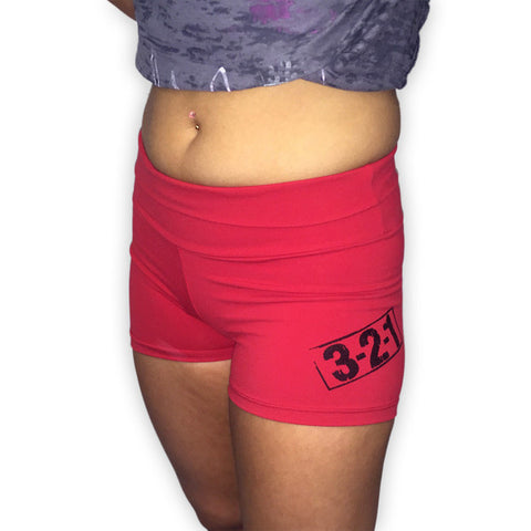 Women's CrossFit-Style Compression Shorts (Red)---321 Apparel
