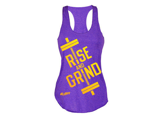 Rise and Grind Women's CrossFit-style burnout Tank Tops from G2OH (purple rush)