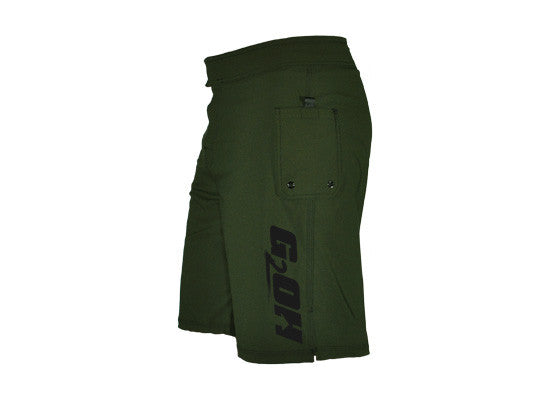 Men's CrossFit-style Shorts----G2OH (green---right side view)