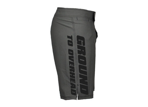 G2OH Men's CrossFit-style Shorts (grey--left side view)