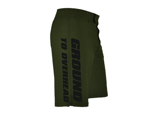 Men's CrossFit-style Shorts ----G2OH (green---left side view)