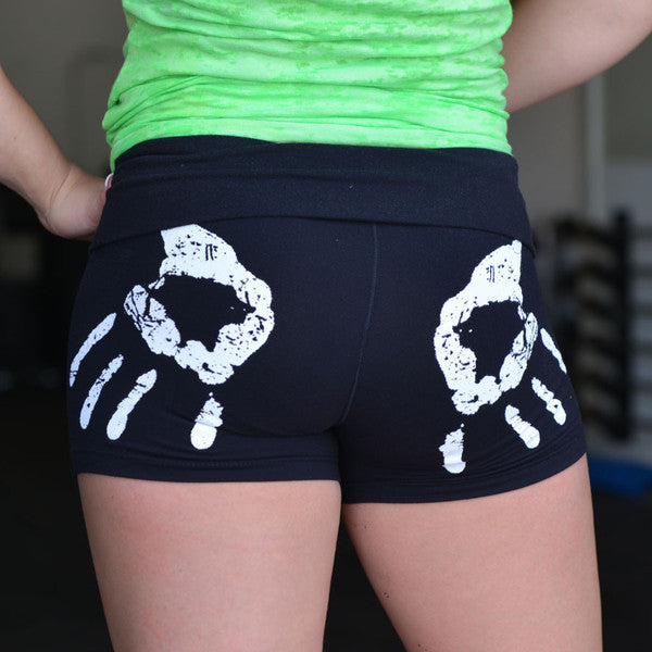 Chalk Print Women's CrossFit-Style Compression Shorts --321 Apparel